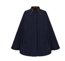 Wholesale elegant style women trench coat resale online - QMGOOD New Autumn Winter Women Trench Cloak Style Fashion Elegant Mid Long Windbreaker Coat Casual Loose Female Woolen Outerwear
