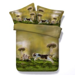 $enCountryForm.capitalKeyWord NZ - 3D cat bedding sets duvet cover mushroom bedspreads animal comforter cover Bed Linen Quilt Covers animal green bed cover for children kids