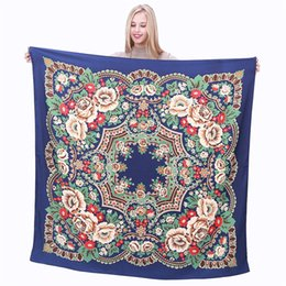 $enCountryForm.capitalKeyWord Canada - New Twill Silk Scarf Women Bohemia Floral Print Square Scarves Fashion Wraps Female Foulard Large Hijab Shawl Neckerchief 130cm*130CM