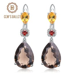 Jewelry & Watches 1 Pair 925 Pure Sterling Silver Natural Smoky Quartz Gemstones Wedding Earrings Fine Jewelry