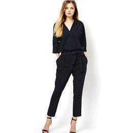 a8e78e92f41 Wholesale- Women Jumpsuit overalls 2016 Summer Style Women V-neck new  rompers women jumpsuits 2016 LATEST long pants Sexy v-neck jumpsuit