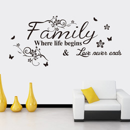 Family quote decals online shopping - Family Where Life Begins Love Never Ends family quotes Wall Stickers Wall Decor PVC Decal Quote Black