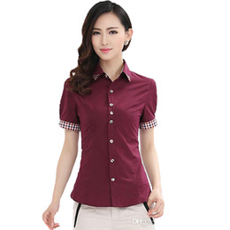 office lady short sleeves shirts 2019 - Europe Russia spring autumn women Short Sleeve Lapel Neck Sequins Career wear red white Korean lady Slim tops Shirts blo