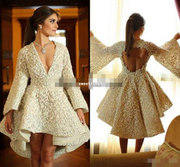 simple column wedding dresses Canada - 2019 3D Lace Applique Sexy Short Holiday Bridal Wedding Gown Keyhole Back V-neck Ruffles Puffy Skirt Long Sleeve Wedding Dress Ashi studio