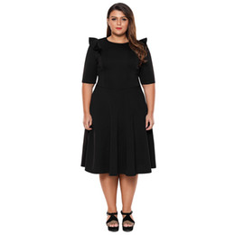 dfb65cd636e Plus Size Elegant Office Ladies Work Dresses Summer Ruffle Half Sleeve  Fashion Sexy Skater Club Dress Xxxl Black Lc61962