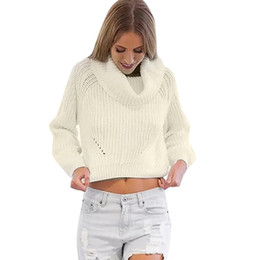 Cropped Hooded Sweater Canada - Autumn Winter Women Sweaters and Pullovers Long Sleeve Casual Crop Sweater Loose Solid Turtleneck Knitted Jumpers Sweter Mujer