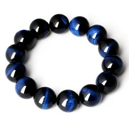 blue tiger eyes bracelet 2019 - Wholesale Natural Blue Tiger Eye Gems Bracelets For Women Men Powerful Stretch Crystal Round Bead Bracelet 12mm 14mm 16m