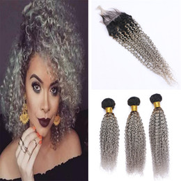 dark grey hair dye Canada - Two Tone 1B Grey Ombre Curly Hair Bundles with Lace Closure Kinky Curly Dark Roots Gray Ombre Human Hair Weave with Closure