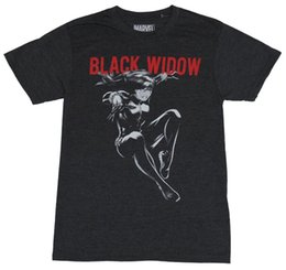 Brand Names Clothes NZ - China Style Fashion Rock Black Widow (Marvel Comics) Mens T-Shirt - Jumping Under Red Name Image Brand Clothing Men t shirt