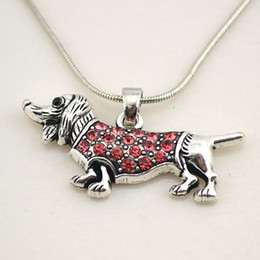 $enCountryForm.capitalKeyWord NZ - Crystal Dachshund Cute Little Puppy Dog Spot Drill Pendant Necklace Doxie Animal Lover On Snake Chain Necklaces Pet Jewelry
