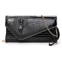 Large size Crocodile paern PU Women clutch bag women purse Messenger bag  lady banquet evening female handbag shoulder 61f54d643462