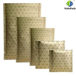 aluminum flat stock 2019 - New Design 100pcs Heat Sealable Gold Aluminum Foil Storage Pouches Flat Open Top Bags w  Black Prism Pattern discount al