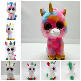 EyEs for stuffEd animals online shopping - 6 design cm Ty Beanie Boos Unicorn Stuffed Animal Collectible Soft Big Eyes Doll Toys For Children Toy Doll KKA5806