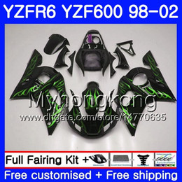 Yzf r6 fairing green online shopping - Body For YAMAHA YZF R6 YZF600 YZFR6 HM YZF YZF R600 YZF R6 Green flames hot Fairings