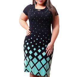 Discount big women summer dresses - 2018 Summer Plus Size 5XL Women Dress Printed Office Shirt Dress Big Size Large Size Party Office Bodycon Dress Oversize