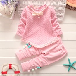 Cute Outfits For Spring Canada - spring autumn girls clothing sets kids girls casual tops blouse+pants 2pcs clothes suit for children girls fashion outfits suit