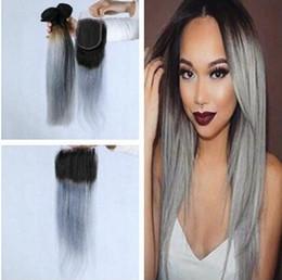 1b Straight Hair Australia - Brazilian straight grey hair weave 3pcs with closure grey ombre hair with closure 1b grey dark root ombre human hair bundles