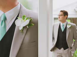 Discount grooms smoking suit - 2017 Most Popular Smoking Grey Men Suits Blazer With Pants Casual Style Black Vest Wedding Grooms Tuxedos(Jacket+Pants+V