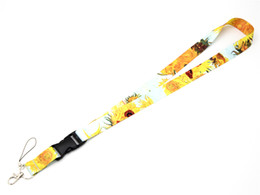 Clip Charms Free Shipping Australia - Free shipping Van Gogh Sunflowers Premium Lanyard ID Lanyards Women Lanyard Badge Clips Name Badge Holders Cute ID Holder with Keychain