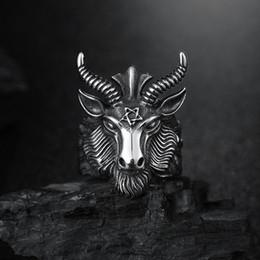 Discount sheep zodiac - Fashion Big Sheep Goat Horn Head Ring Satan Worship Baphomet Aries Zodiac Wicca Star For Men Unique Biker Punk Animal Je