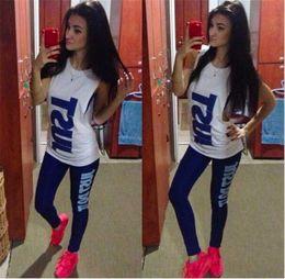 Long sports bras online shopping - Just Do It Women Gilrs Tracksuit Gym Sports Sleeveless T shirt Tank Top Bra Long Pants set Suit Fitness Runnig Jogger Vest and Leggings