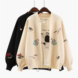 $enCountryForm.capitalKeyWord UK - Women Vintage Short Cardigan 2018 Autumn Floral Bird Embroidery Sweaters Lantern Sleeves Casual Jumpers Knitted Bomber Jackets
