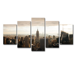city canvas prints Australia - Canvas Posters Living Room Decor Framework 5 Pieces New York City Building Sunset Scenery Paintings Wall Art HD Prints Pictures