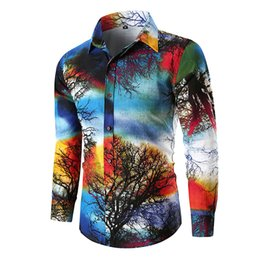Chinese  2018 Fall New Mens Long Sleeve Nature Print Slim Fit Linen Casual Shirts Hawaii Holiday Tree Print Shirts Fashion Urban Clothing manufacturers