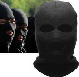 full face skull winter hats Australia - Full Face Cover Mask Three 3 Hole Balaclava Knit Hat Winter Stretch Snow mask Beanie Hat Cap New Black Warm Face masks