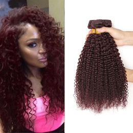 $enCountryForm.capitalKeyWord Australia - 8A Grade Kinky Curly 99J Brazilian Hair Weave Weft 3Pcs Burgundy Human Hair Bundles Deep Curly Wine Red Indian Hair Afro Kinky weave