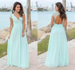 China Mint Green Lace Chiffon Bridesmaid Dresses V Neck Cap Sleeves Open Back Floor Length Bridesmaid Gowns Wedding Guest Dress Party Dresses cheap mint long sleeve lace dress suppliers