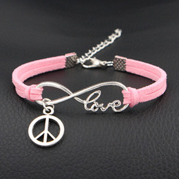 $enCountryForm.capitalKeyWord NZ - Hot European Cheap Punk Fashion Vintage Infinity Love Peace Sign Pink Leather Suede Bracelets For Women Gift Bangles Men Jewelry pulseras