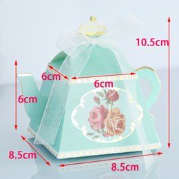 teapot party favor Australia - 10pcs lot Creative Teapot Shape Sweet Candy Box With Ribbon DIY Retro Rose Printed Sugar Box Wedding Party Favor Gift Box