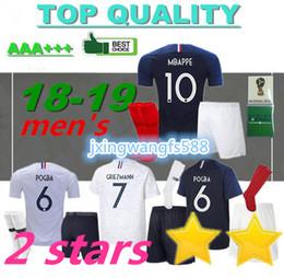 d79f382a9 MBAPPE soccer Jersey 2018 World Cup Football jersey kit home blue 18 19  POGBA GRIEZMANN Football shirt Away white Football wear