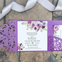Wholesale Luxurious Flora Magenta Wedding Invitation Purple Shimmy Pocket Laser Cut Wedding Invites Custom with Envelope Free Shipped by DHL