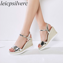 0c558fa4f Gold Beach Wedding Sandals Australia - Women Sandals Beach Shoes Super High  Heel Pu Buckle Wedges