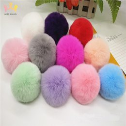 Rabbit Hair Diy Australia - Missxiang Big 8CM Fur PomPom KeyChain Rabbit Hair Bulb Bag pom pom Ball key chain DIY Pendant poret clef for women Lovely Fluffy