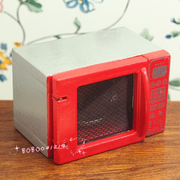 Discount toy microwaves Dollhouse Miniature 1:12 Toy A Wooden Red Microwave Oven L5cm BL2161R