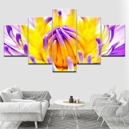 modern canvas art purple flower painting 2019 - The yellow and purple Flower 5 Piece Wallpapers Art Canvas Print modern Poster Modular art painting for Living Room Home