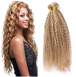 afro kinky hair extensions 613 2018 - Afro Kinky 27 613 Piano Human Hair Extension Chestnut Brown and Blonde Kinky Curly Weaves 3 Bundles Deal Peruvian Virgin
