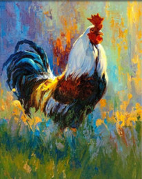 $enCountryForm.capitalKeyWord Canada - 16x20 inches Vintage DIY Chinese Art Farm Color Roosters Foraging in Flowers Paint by numbers Kit Art Acrylic Oil painting on Canvas