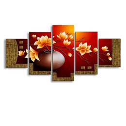 Art Canvas Prints Australia - 5 pieces high-definition print flowers canvas oil painting poster and wall art living room picture PF5-004