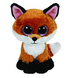 24 inches dolls NZ - Ty Beanie Boos 6-Inch Slick Brown Fox Plush Beanie Baby Plush Stuffed Doll Toy Collectible Soft Toys Big Eyes Plush Toys