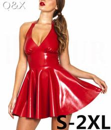 nights costume 2019 - XX48 Sexy PVC Faux Leather Dress Red Shiny 2017 Halter Sleeveless Catsuit Erotic Bondage Pleated Dress Clubwear Costume