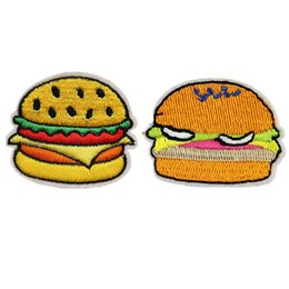 Chinese  Embroidered Hamburger Patches Sewing Iron On Fast Food Badge For Bag Jeans Hat Appliques DIY Sticker Decoration Apparel Accessories manufacturers