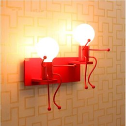 doll paintings NZ - Novelty dolls kids wall light children room red white color paint metal wall light sconces modern Wrought Iron wall lamp abajur