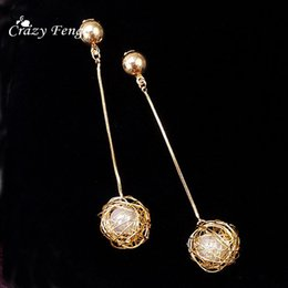 Wholesale Long Net Ball Dangle Hanging Earrings for Women Fashion Jewelry Imitation Pearl Round Wedding Earrings Female Statement Earings