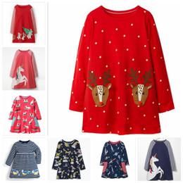 $enCountryForm.capitalKeyWord NZ - Christmas Girls Dresses Animal Print Baby Dress Infant Unicorn Striped Top T-shirt Toddler Long Sleeved Dress Kids Designer Clothes ZYL7-1