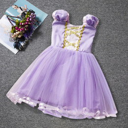 Discount halloween clothing for babies 2018 Summer Purple Short Sleeve Cinderella Fluffy Silk Mesh Princess Dresses Baby Girls Clothing Tutu Dress Party Dress