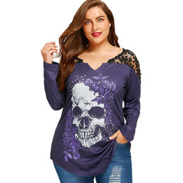Wholesale skull graphic t shirts online – design Oversized T Shirt Plus Size XL Lace Crochet Skull Print Asymmetrical Top Graphic Tees Women Sexy T Shirts Long Sleeve Loose